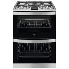 Aeg CGB6133CCM 60cm Gas Double Oven, 4 Gas burners, Cast iron pan supports, MultiZone main Oven + co