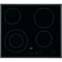 Aeg HK624010FB  60cm Ceramic Hob, 4 Cooking Zones including 1 Dual Zone Hilight, Touch Controls.