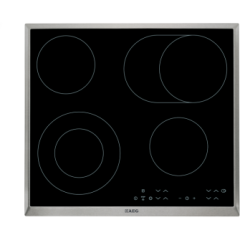 Aeg HK634060XB  60cm Ceramic Hob, 4 Cooking Zones including 2 Dual Zone Hilight, Touch Controls. Opt
