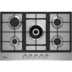 Blomberg GMB83512 036GMB83512 Gas Hob Cast Iron Pan Supports, Automatic Ignition, H4.6xW75.0xD51.0cm