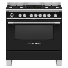 Fisher + Paykel OR90SCG6B1 OR90SCG6B1 900mm Wide Classic Black Single Cavity Pyroclean Oven with Ful