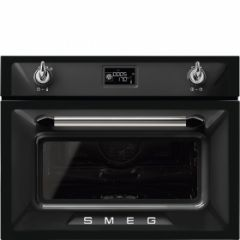 Smeg SF4920VCN1 45cm Height Victoria Black Compact Combination Steam Oven A+