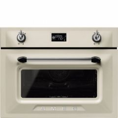 Smeg SF4920VCP1 45cm Height Victoria Cream Compact Combination Steam Oven A+
