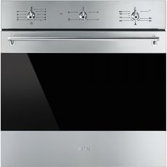 Smeg SF6341GVX 60cm Classic Stainless Steel and Eclipse Glass Gas Fan Single Oven with Electric Gril