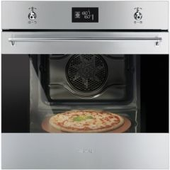 Smeg SF6390XPZE 60cm Classic Stainless Steel and Eclipse Glass Multifunction Single Oven with Pizza