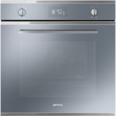 Smeg SF6402TVS 60cm Cucina Silver Glass Multifunction Single Oven with Soft Close Door
