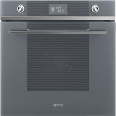 Smeg SFP6102TVS 60cm Linea Silver Glass Pyrolytic Multifunction Single Oven A+ with Soft Close Door