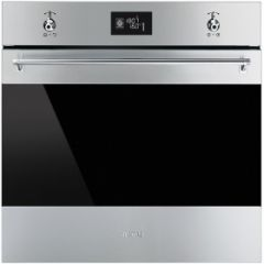 Smeg SFP6390XE 60cm Classic Stainless Steel and Eclipse Glass Pyrolytic Multifunction Single Oven A+