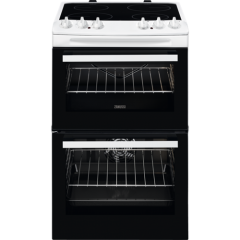 Zanussi ZCV46050WA ZCV46050WA 55cm Double Oven Electric Cooker A Energy Rated, Main Oven 77 Litre Ca