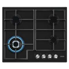 Zanussi ZGH66424BB  60cm wide 4 burner gas hob with triple crown burner. Cast iron pan supports. Fla